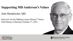 Supporting MD Anderson's Values by John Mendelsohn M.D. and Tacey A. Rosolowski Ph.D.
